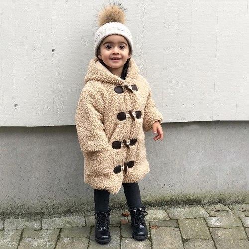 Toddler Baby Kids Girls Coat Jacket Plus Velvet Windproof Winter Hooded Coat Solid Thicken Warm Outwear Baby Girl Clothes