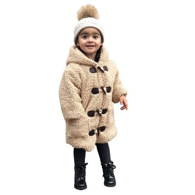 Toddler Baby Kids Girls Coat Jacket Plus Velvet Windproof Winter Hooded Coat Solid Thicken Warm Outwear Baby Girl Clothes