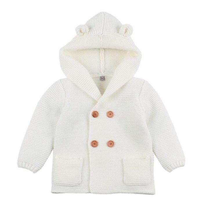 Winter Sweaters For Baby Girls Cardigans Autumn Hooded Newborn Boys Knitted Cartoon Bear  Jacket