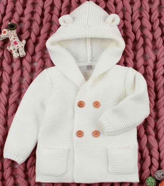 2020 Winter Warm Newborn Baby Sweater Fur Hood Detachable Infant Boys Girl Knitted Cardigan Fall Outwear Children Knitwear 1-24M