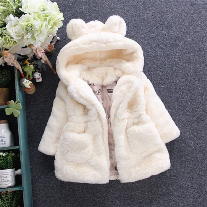 Winter Baby Jackets For Girls Clothes Baby Clothing Cute Ears Kids Hooded Coats Toddler Warm Jacket