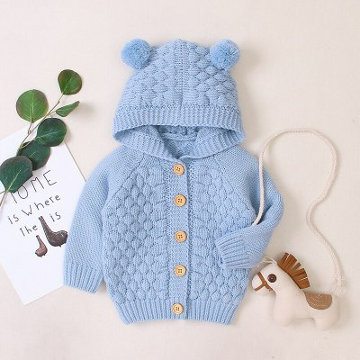 Spring Autumn Newborn Infant Baby Girl Boy Cardigan Clothes Winter Jacket Warm Coat Knitted Sweater Hooded Button Outwear