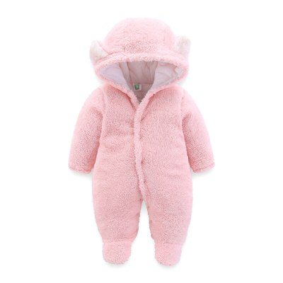 Pink White Brown Gray Newborn Baby Romper Autumn Winter Warm Fleece Infant Boy Girls Jumpsuit Pajamas