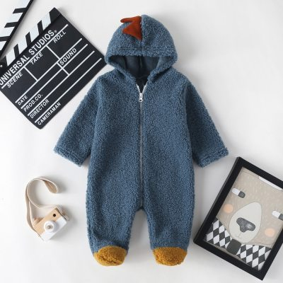2020 New Cute BABY Newborn Baby Boy Girl Clothes Long Sleeve Hoddies Bear Zipper Baby Romper Clothes Autumn Winter Wear