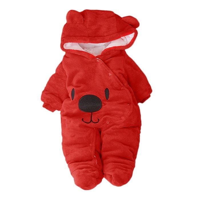 Newborn Baby Solid Cartoon Bear Print Clothing Toddler Velvet Hooded Jumpsuit Girls Boys Winter Warmer Romper Children Clothes