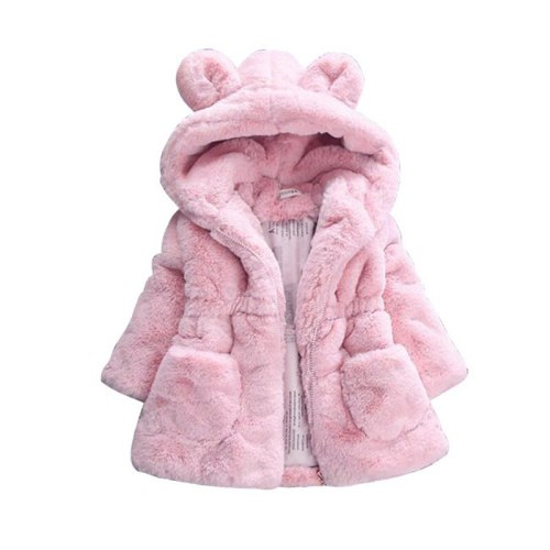 Faux Fur Winter Girls' Wool Sweater Baby Girls Fur Padded Jacket Thickened Jacket Coat