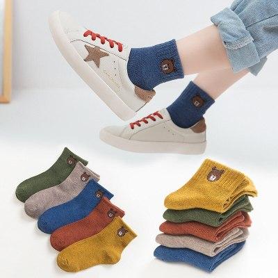 5 Pairs Baby Boys Winter Socks Cartoon Bear Kids Spring Autumn Cotton Breathable Keep Warm Floor Anti-skid Girls Socks