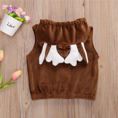 2020 Fall Winter Newborn Baby Boy Girls Plush Vest Infant Sleeveless patchwork zipper Three-dimensional Antler Hooded Coat