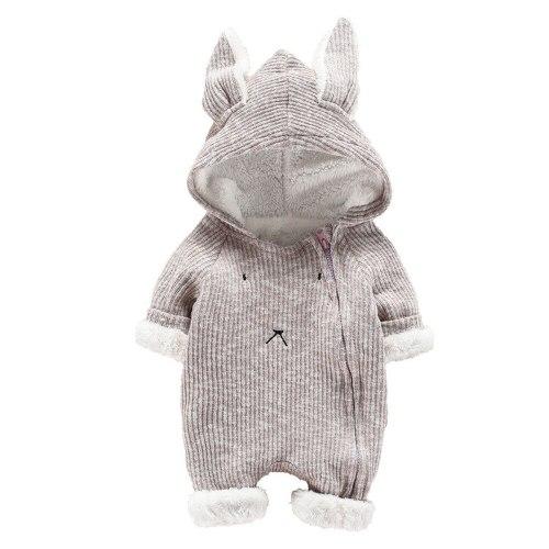 Toddler Infant Baby Clothing Boys Girls Kawaii Cartoon Hooded 3D Ear Romper Jumpsuit Winter Warmer Coats