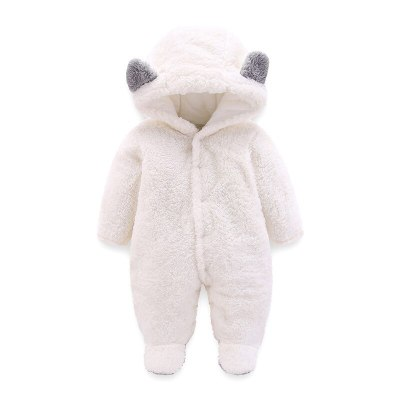 Pink White Brown Gray Newborn Baby Romper Autumn Winter Warm Fleece Infant Boy Girls Jumpsuit Pajamas