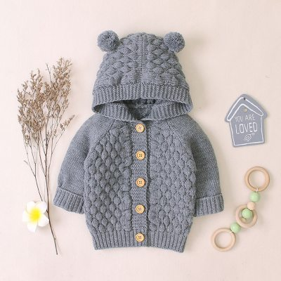 Newborn Infant Baby Girl Boy Romper Jumpsuit Autumn Winter Warm Coat Hooded Knit Jacket For Baby Coat