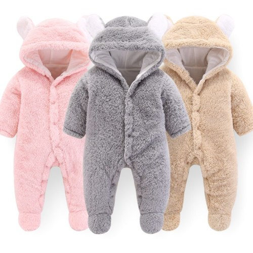 Cute Newborn Infant Hooded Jumpsuit Jacket Outerwear Baby Boy Girls Winter New Thicken Coat Toddler Cotton Warm Romper