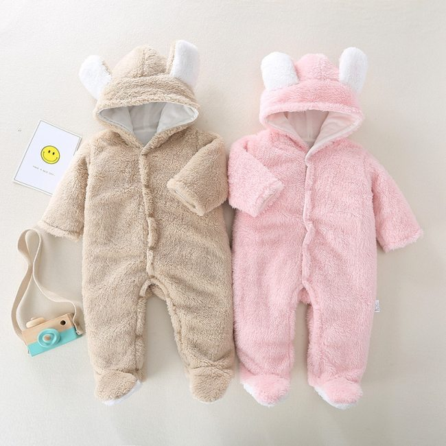 Newborn baby girl jumpsuit winter thick warm warm jumpsuit solid color hooded baby boy robe romper baby piece Romper out clothes