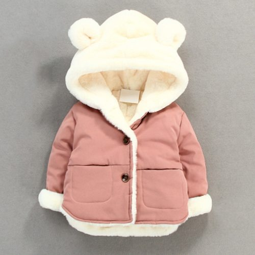 Autumn Winter Baby Fleece Soft Jacket Cartoon Hooded Plus Velvet Infant Boys Coat Newborn Baby Girls Outerwear Baby Snow Wear