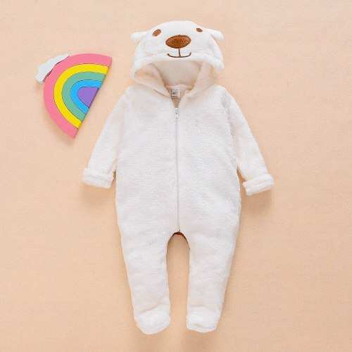 Cartoon Bear Flannel Footed Romper New Born Baby Clothes Boy Winter Thick Bed Crib Jumpsuit Toddler Girls Home Pajamas Rompers