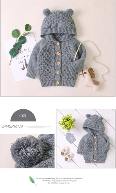 Newborn Infant Kids Baby Boys Girls Sweaters Soild Color Button Hooded Coat Autumn Outwear Knitted Coat Outfit 3-24M