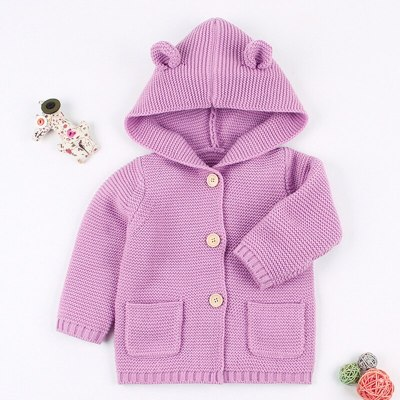 2020 Winter Warm Newborn Baby Sweater Fur Hood Detachable Infant Boys Girl Knitted Cardigan Fall Outwear Children Knitwear 1-24M