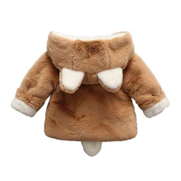Toddler Cute Rabbit Hooded Coat with Ear and Tail Plus Velvet Thick Warm Plush Outerwear