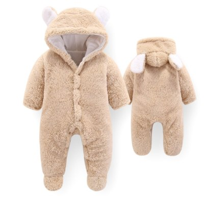 Unisex Baby Rompers Boys Girls Winter Coral Fleece Jumpsuit Hooded with Ears Soft Cute Cartoon Coats Newborn Infant Bodysuits