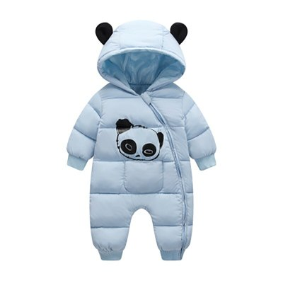 Cute Panda Baby Winter Hooded Rompers Thick Cotton Warm Outfit Newborn Jumpsuit Overalls Snowsuit Children Boys Clothing