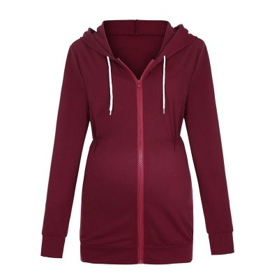 Maternity Thicken Hoodies Autumn Hooded Zipper Coat for Pregnant Women Nursing Jacket Pregnancy Outerwear Breastfeeding Clothes
