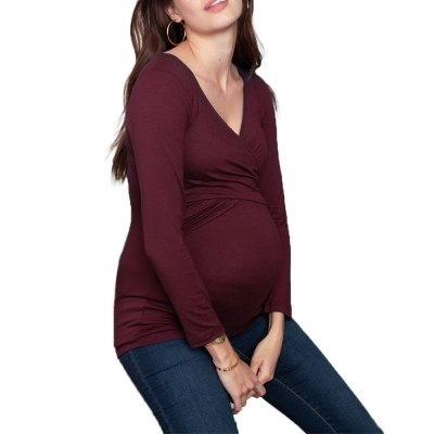 Maternity Shirt Nursing Tops Pregnancy Shirts Funny Spring Autumn Deep V-neck Long Sleeve Printed  Pregnant Costume Pregnant Mom