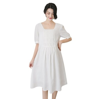 Maternity Dresses With Puffed Sleeves Fold Pure White Summer Dress TopMaternity Wear