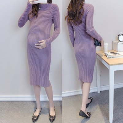 Maternity Elastic Dress Thick Winter Knitted Sweater Boat neck Pullover Casual Full Sleeve Knee-Length Pregnant Sweater