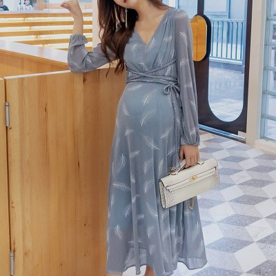 Pregnant dress holiday high waist long sleeve maternity gowns feather women clothing dresses outwear for pregnancy