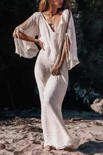 Maternity Bohemian Solid Color V-Neck Off-The-Shoulder Lace Long Sleeve Dress
