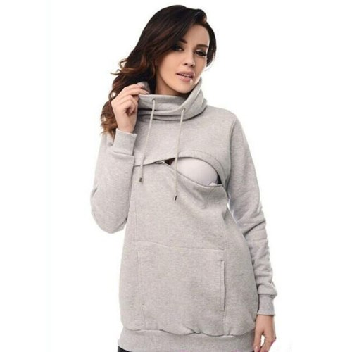 Long Sleeves Maternity Hoodies with Hat Drawstring Nursing Hoodie Sweaters Lactation Matherinity Clothes for Breastfeeding