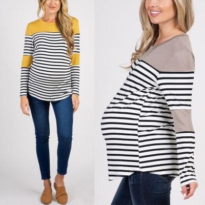 Pregnant women T-shirt round-collar striped maternity long sleeve long summer tops