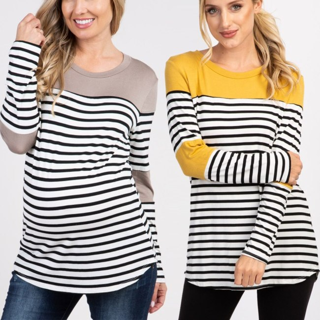 Pregnant women T-shirt round-collar striped pregnancy shirt maternity long sleeve long summer tops