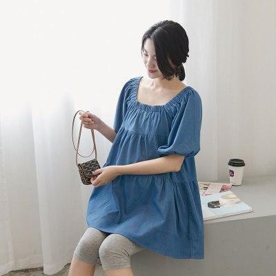 Pregnant Woman Denim Top Fashion Women's Blouses Maternity Wear Short Sleeve Slash Neck Maternity Clothes Pregnant