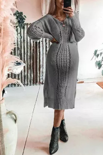 Maternity Sexy Cutout Solid Color Lantern Sleeve Long Sleeve Knit Dress