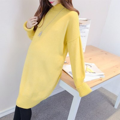 Maternity Long Coats Autumn Winter Fashion Pregnant Women Knitted Sweater Loose Thicken Clothes Outwear