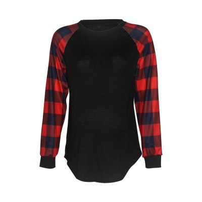 T-shirt for pregnant women with round collar printing plaid pregnancy top long sleeves maternity shirt