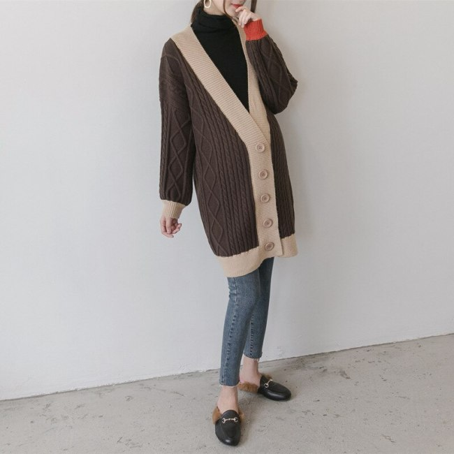 Pregnant Women Cardigan Casual winter Sweater Contrast Color Full Sleeve X-Long Loose Knitted Maternity Clothings
