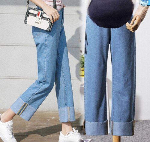 Pregnant women's jeans pants hold abdominal loose spring autumn pregnancy straight maternity trousers