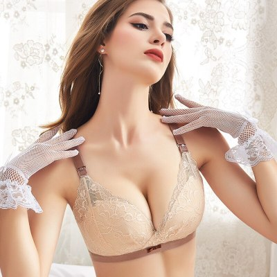 Sexy nursing bra for pregnant women cotton lining maternity set clothes lace underwear wire free upper open front clasp bras