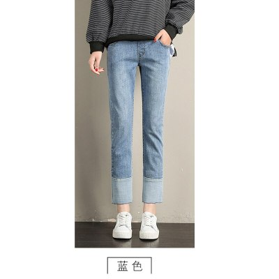 New Spring And Autumn Foot Stitching Small Straight Pants Pregnancy  Jeans Maternal Clothes