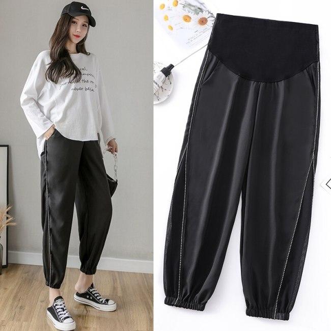 Summer Pregnant Pants Chiffon Patchwork Casual Capri-pant Plus Size High Waist Prenatal Ankle-length Pants