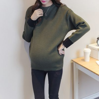 Warm Leisure Knitting Maternity Sweater Maternity Clothing 2Colors Long Sleeve Pregnant Women Casual Maternity Sweater Pullover