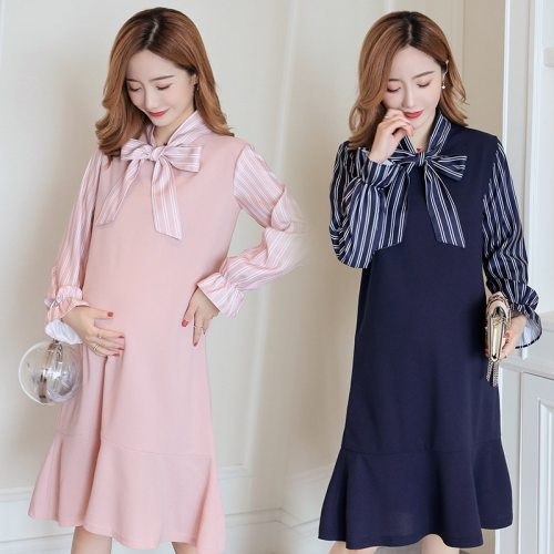 Pregnant dress winter Long-sleeved pregnant woman ruffles pink maternity mermaid dress