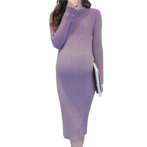 Maternity Elastic Dress Thick Winter Knitted  Knee-Length Pregnant Sweater