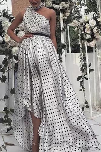 Maternity Sloping Shoulder Dots Halter Dress