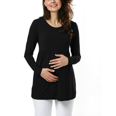 Pregnant woman's pure blouse side fold round collar T-shirt maternity long sleeve top pregnant shirt
