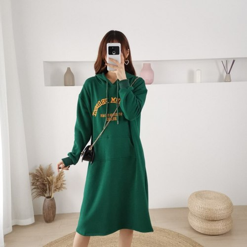 Embroidered Hooded Dress Winter Nursing Maternity Sweater Plus Size Breastfeeding Clothes Front Pocket Pregnancy Dress