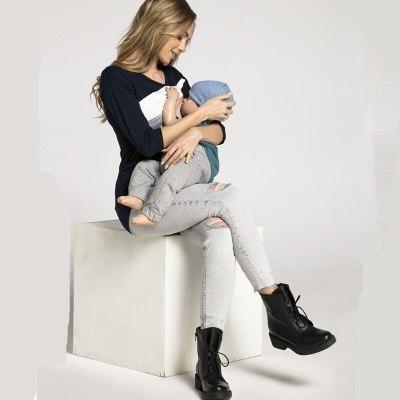 Geometric maternity nursing tops invisible lactation Tees pregnant breast feeding t shirt