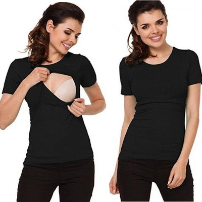 Fashion pregnancy top breastfeeding pure color T-shirt maternity short sleeve tops